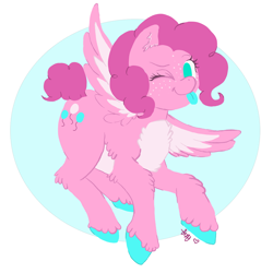 Size: 1280x1282 | Tagged: safe, artist:the-cake-is-true, pinkie pie, pegasus, pony, leak, spoiler:g5, colored hooves, female, flying, g5, hooves, mare, pegasus pinkie pie, pinkie pie (g5), race swap, simple background, solo, spread wings, tongue out, wings