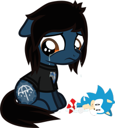 Size: 534x597 | Tagged: safe, artist:lightningbolt, derpibooru exclusive, earth pony, pony, .svg available, bring me the horizon, clothes, colt, crying, cutiespark, floppy ears, foal, frown, hair over one eye, looking down, male, oliver sykes, plushie, ponified, sad, shirt, simple background, sitting, solo, sonic the hedgehog, sonic the hedgehog (series), svg, t-shirt, transparent background, vector, younger