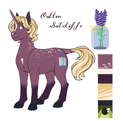 Size: 1521x1497 | Tagged: safe, artist:blackblood-queen, oc, oc only, oc:cullen sutcliffe, pony, unicorn, digital art, male, reference sheet, smiling, solo, stallion