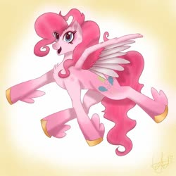 Size: 768x768 | Tagged: safe, artist:yodocovi, pinkie pie, pegasus, pony, leak, spoiler:g5, female, flying, g5, happy, hooves, mare, pegasus pinkie pie, pinkie pie (g5), race swap, simple background, smiling, solo, spread wings, wings
