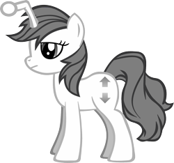 Size: 1278x1194 | Tagged: artist needed, safe, oc, oc only, oc:apathia, pony, unicorn, /r/mylittlepony, base used, cutie mark, female, grey hair, mare, ponified, reddit, reference, simple background, solo, standing, transparent background, vector