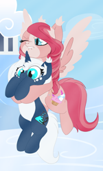 Size: 1080x1805 | Tagged: safe, oc, pegasus, pony, unicorn, alchemist, cutie mark, flying, holding a pony, lazy, struggling