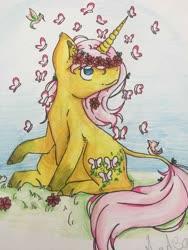 Size: 768x1024 | Tagged: safe, artist:radiation, fluttershy, bird, butterfly, pony, unicorn, leak, spoiler:g5, flower, fluttershy (g5), g5, grass, hooves, leonine tail, redesign, solo, traditional art, unicorn fluttershy, wreath