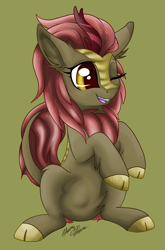 Size: 2006x3038 | Tagged: safe, artist:gleamydreams, maple brown, kirin, pony, background kirin, cloven hooves, cute, kirinbetes, one eye closed, open mouth, red hair, smiling, solo, wink