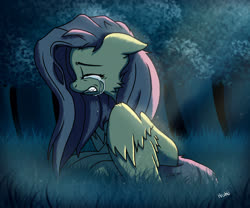 Size: 1920x1600 | Tagged: safe, artist:navokin, fluttershy, pegasus, pony, cheek fluff, crepuscular rays, crying, eyes closed, female, floppy ears, forest, gritted teeth, mare, moonlight, night, outdoors, profile, sad, sitting, solo, spread wings, teary eyes, wings