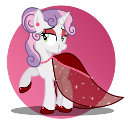 Size: 1280x1225 | Tagged: safe, artist:tenderrain46, sweetie belle, pony, clothes, dress, gala dress, jewelry, necklace, older, pearl necklace, simple background, solo, transparent background