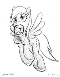 Size: 1024x1304 | Tagged: safe, artist:rockhoppr3, derpy hooves, pegasus, pony, basket, female, food, mare, monochrome, mouth hold, muffin, solo, unshorn fetlocks