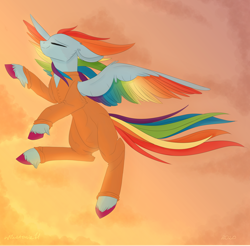 Size: 1920x1890 | Tagged: safe, artist:wikatoria71, rainbow dash, pegasus, pony, clothes, cloud, colored hooves, colored wings, commission, eyes closed, female, flying, g5, jumpsuit, mare, multicolored wings, prison outfit, prisoner, prisoner rd, rainbow dash (g5), rainbow wings, redesign, smiling, solo, sunset, wings