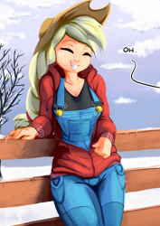 Size: 1414x2000 | Tagged: safe, alternate version, artist:fidzfox, edit, editor:mkogwheel, applejack, human, bait and switch, buttons, clothes, cute, eyes closed, female, fence, grin, humanized, jackabetes, nipple outline, overalls, smiling, solo, troll