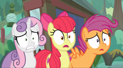 Size: 1571x869 | Tagged: safe, screencap, apple bloom, scootaloo, sweetie belle, growing up is hard to do, spoiler:s09e22, cropped, faic, older, older apple bloom, older cmc, older scootaloo, older sweetie belle, open mouth, scared, shrunken pupils, trio