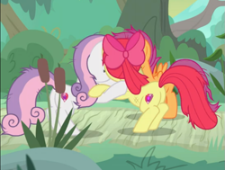 Size: 713x539 | Tagged: safe, screencap, apple bloom, scootaloo, sweetie belle, growing up is hard to do, spoiler:s09e22, butt, cropped, messy mane, older, older apple bloom, older cmc, older scootaloo, older sweetie belle, plot, trio