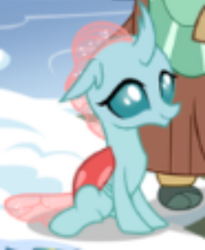 Size: 496x604 | Tagged: safe, ocellus, yona, changedling, changeling, yak, female, gameloft, looking at you, offscreen character, school of friendship, sitting, snow, student six, teenager, winter