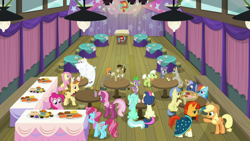 Size: 1920x1080 | Tagged: safe, screencap, angel bunny, applejack, bon bon, bulk biceps, cheerilee, cranky doodle donkey, cup cake, fluttershy, golden crust, goldengrape, granny smith, lyra heartstrings, matilda, maud pie, midnight snack (character), mudbriar, pinkie pie, rainbow dash, sir colton vines iii, spike, sunburst, sweetie drops, dragon, a trivial pursuit, spoiler:s09e16, bell, cake, food, friendship student, pie, winged spike