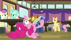 Size: 1920x1080 | Tagged: safe, screencap, bon bon, fluttershy, golden crust, lyra heartstrings, midnight snack (character), pinkie pie, sweetie drops, a trivial pursuit, spoiler:s09e16, bread, chocolate, cupcake, drink, eating, food, friendship student, hot chocolate
