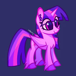 Size: 1000x1000 | Tagged: safe, artist:lollipony, twilight sparkle, alicorn, pony, blue background, chest fluff, ear fluff, eye clipping through hair, female, fluffy, mare, simple background, smiling, solo, style emulation, twilight sparkle (alicorn), unshorn fetlocks