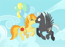 Size: 2497x1809 | Tagged: safe, artist:soarindash10, braeburn, thunderlane, earth pony, pegasus, pony, balloon, base used, crack shipping, eyes closed, floating, flying, gay, kissing, male, mid-air, shipping, sky, stallion, thunderburn