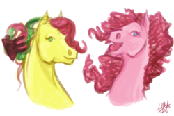 Size: 450x300 | Tagged: safe, artist:sdlhf, kiwi tart, pinkie pie, earth pony, pony, bust, cousins, duo, female, g3, g3 to g4, generation leap, headcanon, hoers, mare, realistic