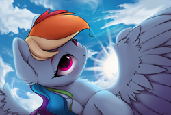 Size: 3701x2483 | Tagged: safe, alternate version, artist:hitbass, rainbow dash, pegasus, pony, backlighting, cheek fluff, chest fluff, cloud, crepuscular rays, cute, dashabetes, ear fluff, female, high res, leg fluff, looking at you, mare, smiling, solo, spread wings, sun, wing fluff, wings