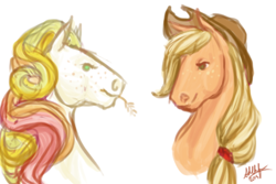 Size: 450x300 | Tagged: safe, artist:sdlhf, applejack, golden delicious (g3), earth pony, horse, pony, bust, cousins, duo, female, freckles, headcanon, hoers, mare, realistic, simple background, straw in mouth, white background