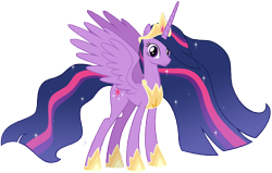 Size: 14622x9290 | Tagged: safe, artist:andoanimalia, twilight sparkle, alicorn, pony, the last problem, spoiler:s09e26, absurd resolution, armor, crown, ethereal mane, female, hoof shoes, horn, jewelry, long horn, mare, older, older twilight, princess twilight 2.0, regalia, simple background, solo, sparkles, transparent background, twilight sparkle (alicorn), vector