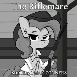 Size: 2250x2250 | Tagged: safe, artist:tjpones, pinkie pie, earth pony, pony, clothes, cowboy hat, dexterous hooves, female, grayscale, gun, hat, hoof hold, mare, monochrome, rifle, shirt, solo, the rifleman, weapon