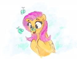 Size: 2048x1583 | Tagged: safe, artist:thefloatingtree, fluttershy, butterfly, pegasus, pony, butterfly on nose, cute, female, insect on nose, mare, open mouth, shyabetes, solo