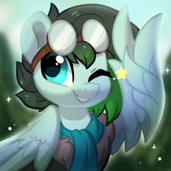 Size: 1000x1000 | Tagged: safe, artist:colorfulcolor233, oc, oc only, pegasus, pony, clothes, goggles, one eye closed, scarf, solo, wink