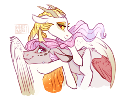 Size: 680x542 | Tagged: safe, artist:butteredpawpcorn, oc, oc only, oc:princess dissonance, oc:sunlight harmony, draconequus, hybrid, pony, duo, ethereal mane, female, floppy ears, horns, hug, interspecies offspring, looking at each other, mare, offspring, parent:discord, parent:princess celestia, parents:dislestia, siblings, simple background, sisters, starry mane, teary eyes, white background