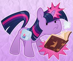 Size: 1053x882   Tagged: safe, artist:silentazrael, twilight sparkle, pony, unicorn, bag, beady eyes, book, cute, female, glowing horn, horn, magic, mare, paper pony, saddle bag, solo, spell, twiabetes, unicorn twilight, visible breath