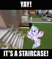 Size: 2048x2310 | Tagged: safe, artist:cheezedoodle96, edit, editor:topsangtheman, silverstream, hippogriff, car, looking at you, meme, minecraft, smiling, stairs, that hippogriff sure does love stairs, truck