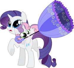 Size: 1280x1187 | Tagged: safe, artist:silentazrael, rarity, sweetie belle, pony, unicorn, butt, cute, duo, female, filly, mare, mouth hold, open mouth, plot, siblings, simple background, sisters, transparent background, umbrella, vector