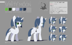 Size: 1280x808 | Tagged: safe, artist:satv12, oc, oc only, oc:sprite moon, pony, unicorn, cutie mark, expressions, female, japanese, mare, reference sheet, solo