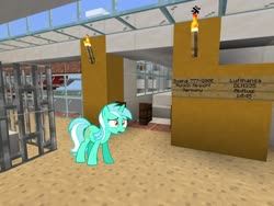 Size: 2048x1536   Tagged: safe, artist:scourge707, edit, editor:topsangtheman, lyra heartstrings, pony, unicorn, airport, boeing 777, lufthansa, minecraft, unamused