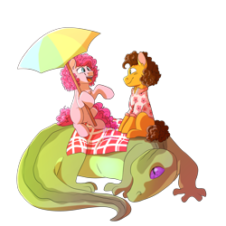 Size: 3000x3000 | Tagged: safe, artist:glitterstar2000, cheese sandwich, gummy, pinkie pie, alligator, earth pony, pony, cheesepie, clothes, date, female, hoof hold, macro, male, missing cutie mark, older gummy, picnic blanket, ponies riding gators, riding, shipping, shirt, simple background, straight, transparent background, umbrella