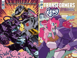 Size: 1317x1000 | Tagged: safe, artist:caseycoller, artist:guido guidi, edit, idw, pinkie pie, dinosaur, earth pony, pony, robot, spoiler:comic, spoiler:friendship in disguise, autobot, cake, clash of hasbro's titans, collage, comic, cover, crossover, food, friendship in disguise, grimlock, my little pony vs transformers, pie, pie in the face, shockwave, spoilers for another series, sugarcube corner, transformers, transformers '84: secrets and lies, transformers 84