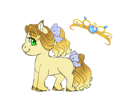 Size: 1000x800 | Tagged: safe, artist:miyathegoldenflower, oc, oc only, earth pony, pony, bow, cute, ear fluff, female, filly, hair bow, jewelry, looking at you, offspring, parent:applejack, parent:prince blueblood, parents:bluejack, profile, simple background, solo, tail bow, tiara, unshorn fetlocks, white background