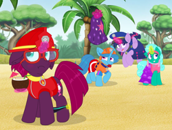 Size: 1440x1080 | Tagged: safe, artist:rainbow eevee, artist:徐詩珮, fizzlepop berrytwist, glitter drops, spring rain, tempest shadow, twilight sparkle, alicorn, unicorn, series:sprglitemplight diary, series:sprglitemplight life jacket days, series:springshadowdrops diary, series:springshadowdrops life jacket days, alternate universe, bisexual, blushing, broken horn, clothes, cute, equestria girls outfit, female, glitterbetes, glitterlight, glittershadow, horn, lesbian, lifeguard, lifeguard spring rain, paw patrol, polyamory, shipping, sprglitemplight, springbetes, springdrops, springlight, springshadow, springshadowdrops, tempestbetes, tempestlight, twilight sparkle (alicorn)