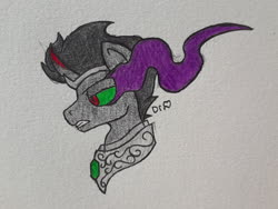 Size: 2576x1932 | Tagged: safe, artist:drheartdoodles, king sombra, corrupted, edgy, gem, head shot, magic, solo, traditional art