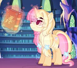Size: 3391x3023   Tagged: safe, artist:sugaryicecreammlp, oc, oc only, oc:sunrise, pony, unicorn, book, female, high res, library, magic, mare, solo, twilight's castle, twilight's castle library