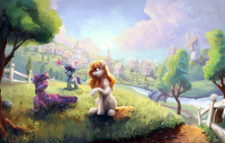Size: 3580x2280 | Tagged: safe, artist:nemo2d, twilight sparkle, oc, oc:silver crescent, oc:yellowstar, butterfly, earth pony, pony, unicorn, fanfic:the star in yellow, bridge, color porn, fanfic art, fence, high res, ponyville, prone, river, scenery, the star in yellow, tree, unicorn twilight, windmill