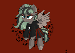 Size: 4448x3155 | Tagged: safe, artist:dumbwoofer, oc, oc:forest air, pegasus, pony, clothes, dyed mane, ear piercing, edgy, gauges, goth, hoodie, piercing, skirt, solo, teenager