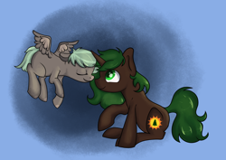 Size: 4448x3155 | Tagged: safe, artist:dumbwoofer, oc, oc only, oc:forest air, oc:pine hearts, pegasus, pony, unicorn, daughter, family, female, filly, love, mother, mother and child, mother and daughter