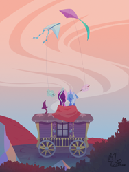 Size: 2474x3298 | Tagged: safe, artist:inkstones, starlight glimmer, trixie, pony, unicorn, blanket, female, glowing horn, horn, kite, kite flying, lesbian, mare, rear view, shipping, sitting, sky, startrix, trixie's wagon, wagon