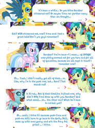 Size: 1000x1352 | Tagged: safe, gallus, ocellus, sandbar, silverstream, spoiler:s09e26, dialogue, gameloft, implied yona, older, older gallus, older ocellus, older silverstream, royal guard gallus