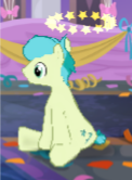 Size: 122x166 | Tagged: safe, sandbar, earth pony, pony, the last problem, spoiler:s09e26, circling stars, dizzy, gameloft, male, older, older sandbar, solo, stallion