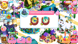 Size: 1280x720 | Tagged: safe, carrot cake, gallus, queen chrysalis, sandbar, spoiler:s09e26, gameloft, gameloft shenanigans, gem, implied gallbar, older, older gallus, older sandbar, royal guard gallus