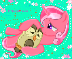 Size: 474x393 | Tagged: artist needed, safe, owlowiscious, oc, bird, owl, pony, unicorn, female, mare, sad, solo