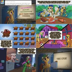 Size: 2404x2404 | Tagged: safe, artist:ruffu, oc, oc:arrowhead, oc:bastion, oc:marigold, oc:monolith, oc:nors, earth pony, pegasus, pony, unicorn, ask pun, ask, comic, food, helmet, meat, ponies eating meat, royal guard