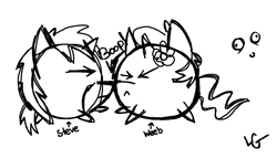 Size: 1118x640 | Tagged: safe, artist:lucas_gaxiola, oc, oc only, pony, unicorn, chubbie, duo, eyes closed, flower, flower in hair, lineart, monochrome, signature