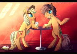 Size: 1500x1050 | Tagged: safe, artist:ka-samy, applejack, oc, oc:charmed clover, earth pony, pony, bendy straw, bipedal, colored hooves, drink, drinking straw, duo, female, hat, male, mare, one eye closed, stallion, table, wink
